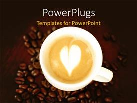 PowerPlugs: PowerPoint template with a cup of coffee on top of some coffee seeds