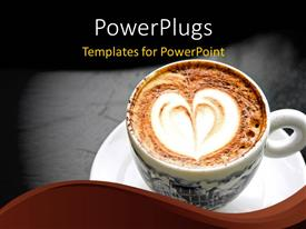 PPT featuring a cup of creamy coffee with grayish background and place for text