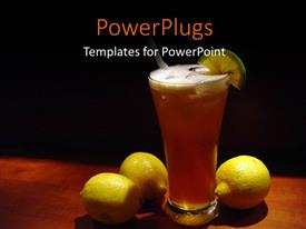 Slides featuring a cup of drink with three lemons on a table