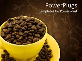 PowerPoint template displaying a cup full of coffee beans with floral background