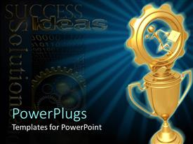 PowerPlugs: PowerPoint template with a cup with a gear on top