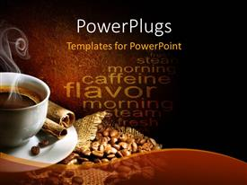 PowerPlugs: PowerPoint template with a cup of hot coffee with coffee beans in the background