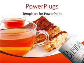 PowerPlugs: PowerPoint template with a cup with liquid in it and a newspaper and food