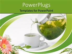 Audience pleasing PPT theme featuring cup with mint tea and teapot