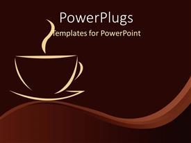 PowerPoint template displaying a cup of tea with brownish background