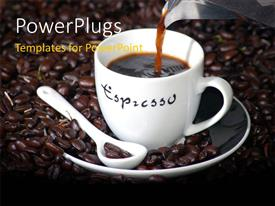 PowerPlugs: PowerPoint template with a cup of tea with a number of coffee beans