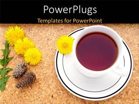PowerPlugs: PowerPoint template with a cup of tea with a number of flowers