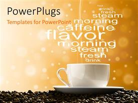 PowerPoint template displaying a cup of tea with a number of words and coffee beans