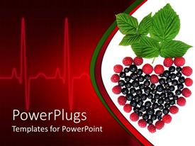 PowerPlugs: PowerPoint template with currants, raspberries and mint making heart, EKG heart rhythm, nutrition, healthy eating, wellness, cardiology