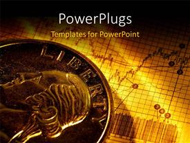 PowerPlugs: PowerPoint template with a currency coin with a buisness related sheet in the background