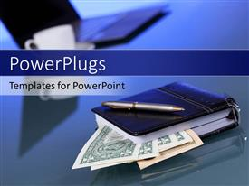 PowerPlugs: PowerPoint template with currency notes in diary with laptop and coffee cup on desk