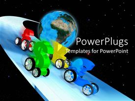PowerPlugs: PowerPoint template with currency symbols with wheels racing, globe background, world economy, economic race