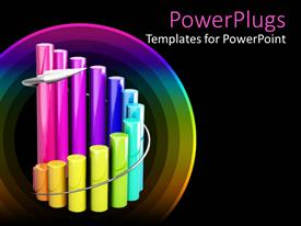 PowerPlugs: PowerPoint template with curved cylindrical multi colored bar chart on black background