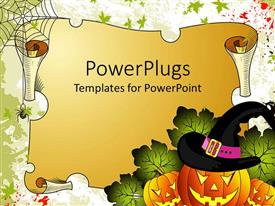 PowerPlugs: PowerPoint template with curved pumpkins wearing wizard hat next to old scroll with spider and web