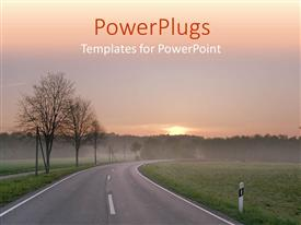 PowerPlugs: PowerPoint template with curved road through green field and trees, forest near roads at sunrise