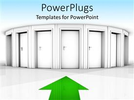PowerPlugs: PowerPoint template with a curved row of white doors with a green arrow