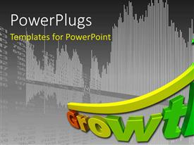 PowerPlugs: PowerPoint template with curved upward pointing yellow green arrow above word Growth