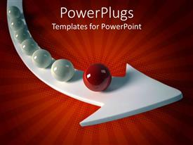 PowerPoint template displaying a curved white arrow with some shiny 3D balls