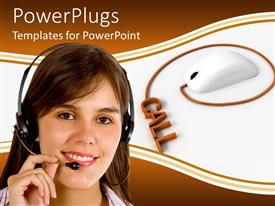 PowerPlugs: PowerPoint template with a customer service person with a mouse in the background