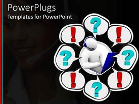 PowerPlugs: PowerPoint template with customer support personnel with question marks and exclamation marks all over