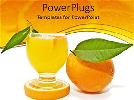 PowerPoint template displaying cut of citrus fruit juice with an orandle and leaves