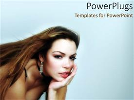 PowerPlugs: PowerPoint template with cut girl sitting down with hand on chin looks on