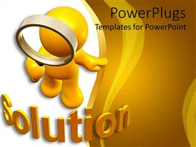 PowerPlugs: PowerPoint template with cute 3D figure carrying finding glass seeking solution