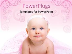 PowerPoint template displaying a cute baby with blue eyes on a floral ink background