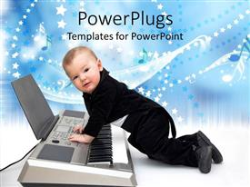PowerPlugs: PowerPoint template with cute baby boy dressed in black tuxedo playing a piano