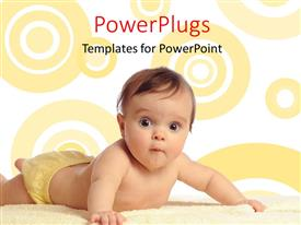 PowerPlugs: PowerPoint template with a cute baby boy lying on a soft white blanket