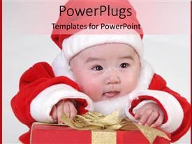 PowerPoint template displaying cute baby dressed in santa regalia smiling over christmas gift box