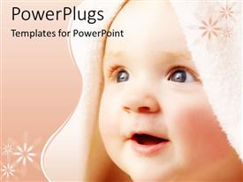PowerPlugs: PowerPoint template with cute baby face close up in peach background