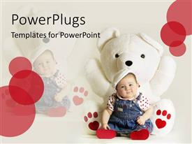 PowerPlugs: PowerPoint template with cute baby places heady in white mascot on white background