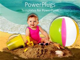 PowerPlugs: PowerPoint template with cute baby playing on sand with a ball bucket and glasses