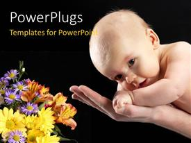 PowerPlugs: PowerPoint template with cute baby safe in father's hands with flowers on black background