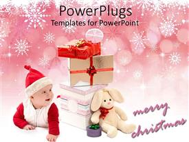 PowerPoint template displaying cute baby in Santa clause outfit smiling with gift bags