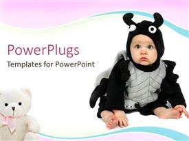 PowerPoint template displaying cute baby with a teddy bear on a white background