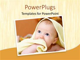 PowerPlugs: PowerPoint template with cute baby wrapped in a towel looking up