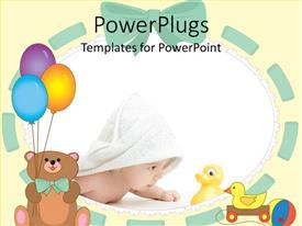 PowerPoint template displaying cute baby wrapped in white towel staring at toy duck