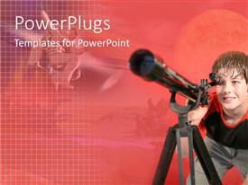 PowerPlugs: PowerPoint template with cute boy looking through a telescope on a red background