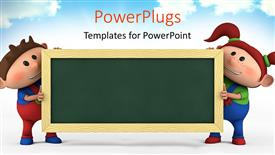 PowerPoint template displaying cute cartoon boy and girl with blackboard, education concept with sky in the background