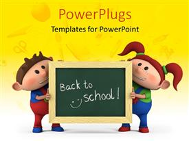 Slide deck having cute cartoon boy and girl with holding chalkboard with 'back to school' written and school items overlayed on yellow color in the background