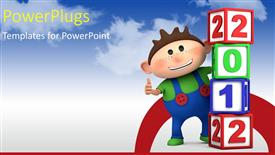 PowerPoint template displaying a smiling cartoon character of a kid with