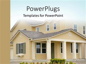 PowerPlugs: PowerPoint template with cute house with beautiful flowers in front
