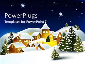 PowerPlugs: PowerPoint template with cute house covered by snow in winter