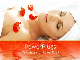 PowerPoint template displaying cute lady in spa with red flowers on her chest
