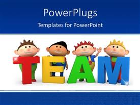 PowerPoint template displaying cute little 3D cartoon boys with TEAM letters