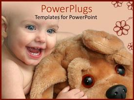 PowerPlugs: PowerPoint template with cute little baby playing with big dog teddy bear