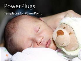 PowerPlugs: PowerPoint template with cute little baby sleeping beside teddy bear