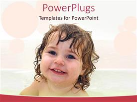 PowerPoint template displaying cute little baby smiling happily in a shower on a white background